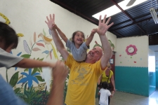 Playing with the kids at Casita Benjamin