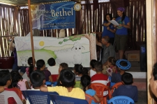Danni narrating the Lost Sheep skit for the kids in El Molino