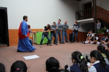 Matt representing Jesus while doing a skit for Government school, Las Rosas
