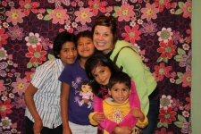 Sarah spending time with girls who were rescued from abusive situations