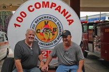 Doug & Jim, (Chicago Firemen) visiting the local Fire Department