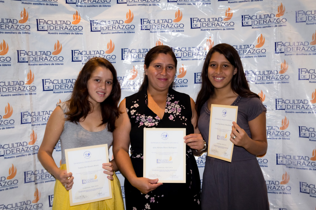 Fatima, Adriana & Joselyn proudly show off their certificates